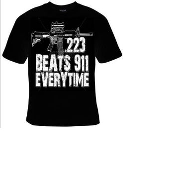 223 beats 911 everytime shooting t shirt funny great cute gift tshirts