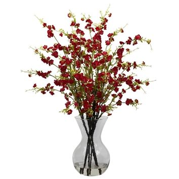 SheilaShrubs.com: Red Cherry Blossoms w/Vase Arrangement 1315-RD by Nearly Natural : Artificial Flowers & Plants