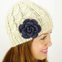 Knitted Beanie Women's Accessories Cable knit beanie Womens Beanie Cap flower Beanie Beige Beanie Ivory Beanie Off White Beanie Acrylic Yarn
