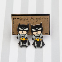 Grumpy Batman Old-School Faux Gauge Clinging Earrings