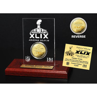 Super Bowl 49 Gold Flip Coin Etched Acrylic