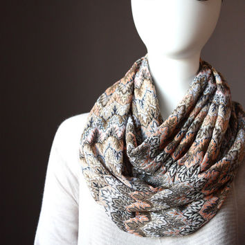 Sweater knit  Infinity scarf ,  Missoni style, neutral, earthy, lacy, light , pastel, golden thread accents
