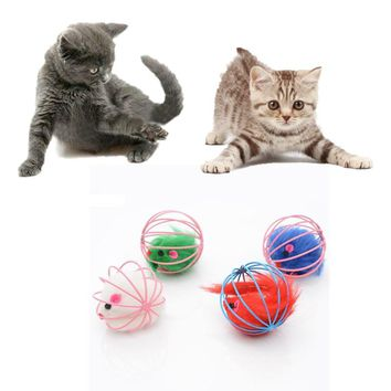 6*6cm Rabbit Hair Mouse Toy for Cat Round Ball Cage Funny False Mouse Cats Toys Pet Products Color At Random