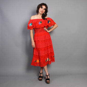 80s MEXICAN Embroidered DRESS / Pintuck Pleat Crochet Ruffle Peasant Dress, xs-s