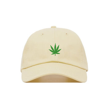 Marijuana Leaf Embroidered Baseball Cap