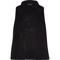 River Island Womens Black lace high neck top