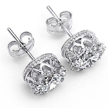 "Royal ""Crown"" Sterling Silver Round-Cut 1.5 Cts AAA Cubic Zirconia Stud Earring"