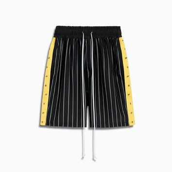 track team gym short / black stripe + yellow