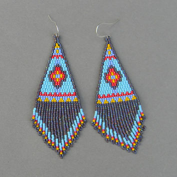 Ethnic style blue seed bead earrings - large peyote earrings with fringe