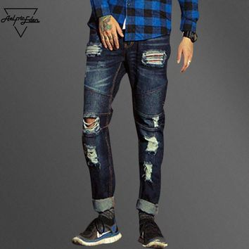 Men Ripped Holes Casual Jeans