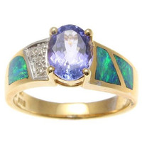 GENUINE 1.30CT OVAL TANZANITE AUSTRALIAN OPAL DIAMOND RING SOLID 14K YELLOW GOLD