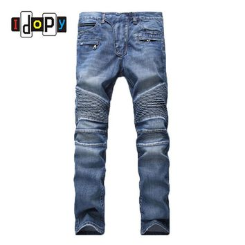 Men's Fashion Brand Designer Ripped Biker Jeans Men Distressed Moto Denim Joggers Washed Pleated Jean Pants Black Blue