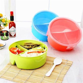 1 pc Round Shape Cutlery Set Food-Grade Plastic Food Storage Container Picnic Tableware Set With Microwave Cutlery Box