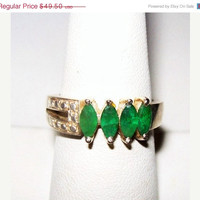 CIJ Sale Emerald Sterling Silver Ring 4 Marquise 1 CT Gemstones Signed 925 Ladies Size 8 Vintage