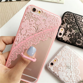Newest fashion Clear Lace Floral Flower Plastic Hard Case Cover for iPhone 6 6s 6 6s plus