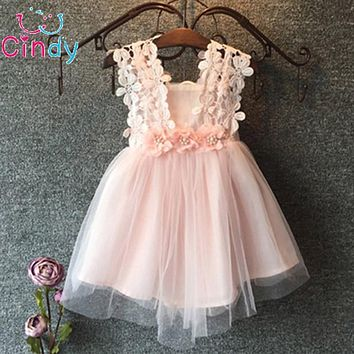 Flower Cotton Lace Girls Dress Casual Party Dress for Girls Children striped dress corsage tutu dress