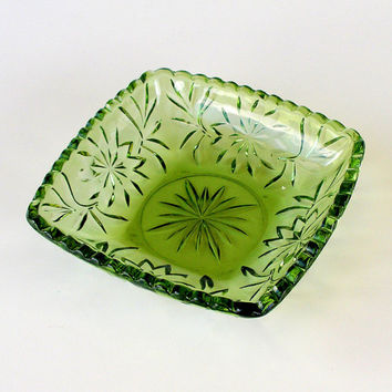Hazel Ware 3501 Vintage Square Green Cut Glass Candy Dish