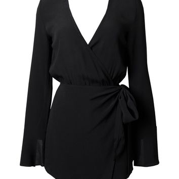 Black Long Sleeve Wrap Romper