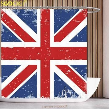 Funky Shower Curtain British Abstract England London Flag Old Vintage Like Print with Shadow Print Red Navy Blue and White