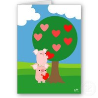 Porky Valentine and Love Tree greeting card from Zazzle.com