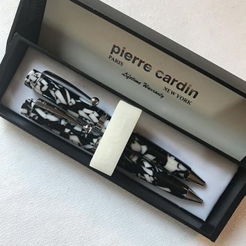 Pierre Cardin mini Pen & Pencil Set Abtract Modern Black on White