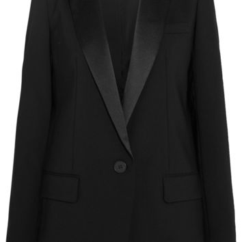 DKNY - Satin-trimmed stretch-wool crepe tuxedo blazer