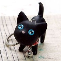 niceEshop Luft Kat, Cat Key Chain, Cute Kitten Key Ring, Bag Ornament, Gift idea (Black)