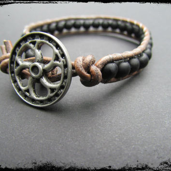 SINGLE WRAP BRACELET~Black Matte Glass Beaded Single Wrap Bracelet~SIlver Steampunk Button~Women's Gemstone Bracelet