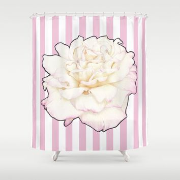 Pale Rose on Stripes Shower Curtain by drawingsbylam