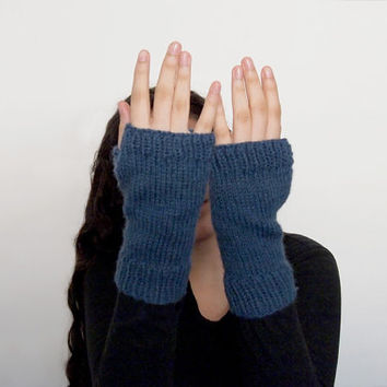 custom knit wrist warmers-- the condyle fingerless mittens in denim blue
