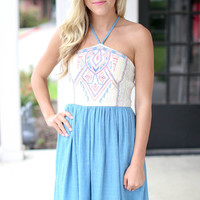 Halter Embroidered Dress - Chambray