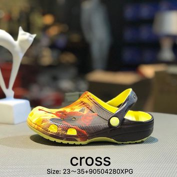 Cross Tunnel shoes Baotou thick bottom antiskid and cool towed orange kid beach shoes sandals