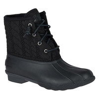 Women's Saltwater Rope Embossed Duck Boot in Black by Sperry