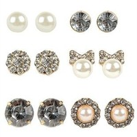 Set of Six Earring Pairs with Pearls, Flowers, and Stone Studs
