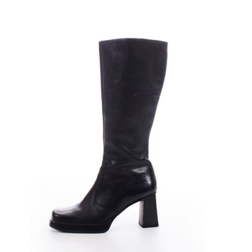 Tall Leather Boots Black Sleek and Chic Nine West 90s Minimalist Knee High Winter Footwear Womens Size US 10 UK 8 EUR 40-41