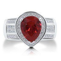 Pear Cut Ruby Cubic Zirconia CZ Sterling Silver Cocktail Ring 2.77 ctw #r595