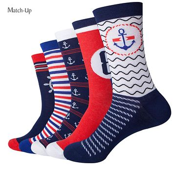 Match-Up  Navy Style Anchor Men Combed Cotton funny Socks  Lovers socks Two Size   (5 pairs/lot )