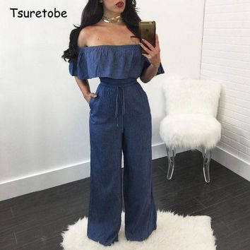 DKF4S Tsuretobe Women Denim Summer Jumpsuit Ruffles Slim Fit Rompers Women Jumpsuit Strapless Off Shoulder Backless Sexy Jumpsuits