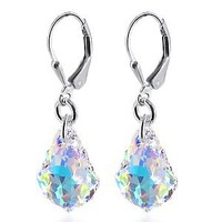 SCER035 925 Sterling Silver Clear AB Crystal Drop Handmade Earrings