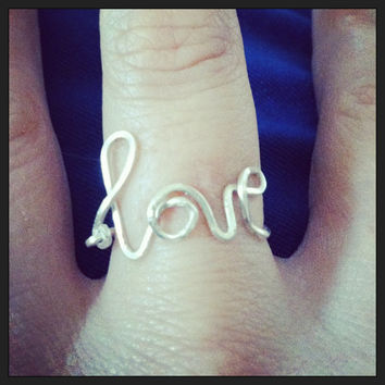 All You Need Is Love Ring - Wire Ring - Cursive Love Ring
