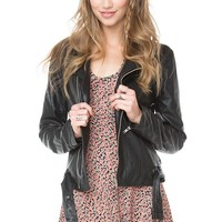 Brandy ♥ Melville |  Zip Up Leather Jacket - Just In