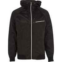 River Island MensBlack mesh panel hooded jacket