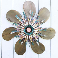 Funky Boho Wooden Flower~ Peach, Green Rustic Wreath~ Boho Chic Wall Art~ Bohemian Decor~ Hippie Decor
