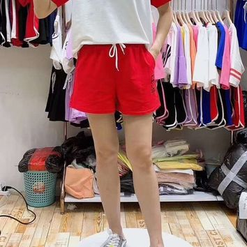 Woman's Leisure  Fashion Letter  Embroidery Printing Loose Short Sleeve Shorts Two-Piece Set Casual Wear