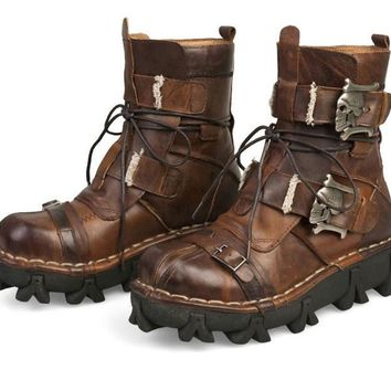 Cowhide Genuine Leather Motorcycle Boots Skull Punk Steampunk Mid-calf Shoes
