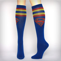 Superman Athletic Stripe Knee High Socks