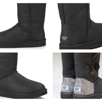 Custom UGG Boots made with Swarovski Classic Short Leather Free: Shipping, Repair Kit, Cleaning Kit, Crystal Color, 48 hr Turnaround
