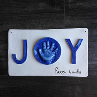 JOY Personalized Nursery Art with Hand Print and Foot Print - Gift Idea for Mom and Dad - Baby Print Art - Nursery Decor - Baby  Gift