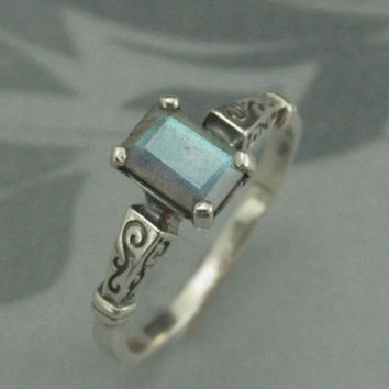 Labradorite Engagement Ring--Silver Hand Set with High Quality Emerald Cut Labradorite--Something Blue--Wedding Jewelry