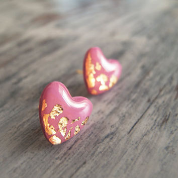 Fuchsia Heart Stud Earrings - Polymer Clay and Resin Jewelry
